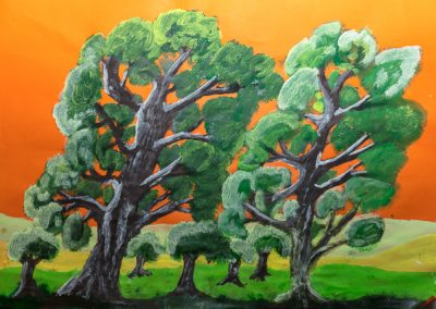 Orange Sky with Trees
